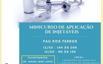 Inscrições abertas para minicurso de Aplicação de Injetáveis em Pau dos Ferros