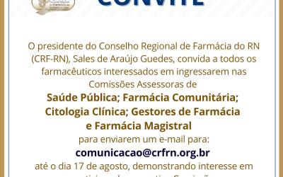 CRF-RN convida farmacêuticos para participação nas Comissões Assessoras