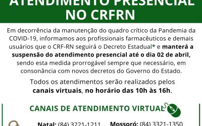 Prorrogada a suspensão do atendimento presencial no CRF-RN